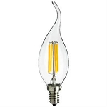 Sunlite 80447 4 Watt  Dimmable LED Flame Tip Chandelier Lamp 1800K CFC/LED/AQ/4W/E12/DIM/CL/18K Candelabra Base