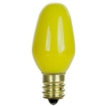Sunlite 01265 7 Watts Yellow C7  Mini  Bulb Candelabra Base 7C7/Y Case of 25
