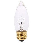 Satco A3631 25 Watt Torpedo Tip Chandelier, Medium Base, Clear 25B11 130 Volts Case of 25